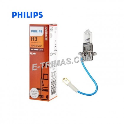 12455RA Original Philips H3 12V 100W Rally Vision Fog Sport Light Halogen Bulb