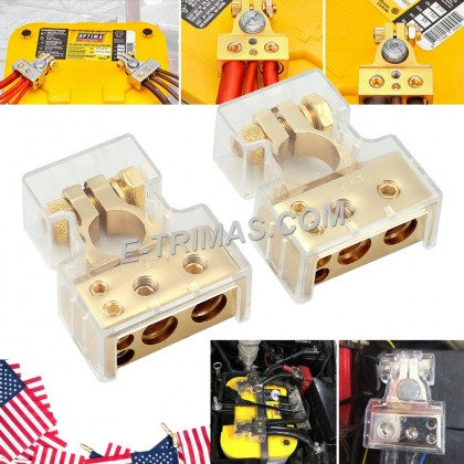 4 8 AWG Gold Plating Auto Car Motorsport Battery Terminal Clamp (1PAIR)