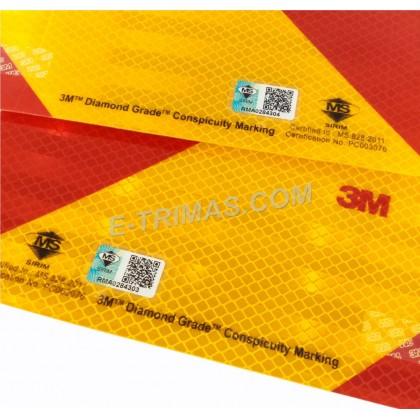 Original 3M SIRIM Diamond Grade Lorry Truck Trailer Yellow Red Reflective Sticker JPJ Puspakom