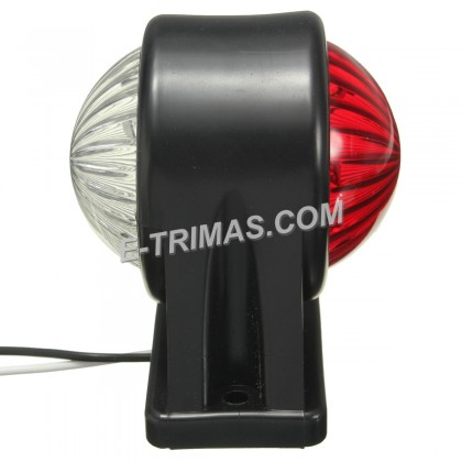Trailer LED White Red Side Marker Rear Double Face Round Lamp 10-30V