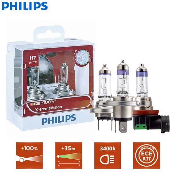 Philips X-Treme Vision H1 H4 H7 H11 9005 9006 + 100% Bright Halogen Headlight (Twin)