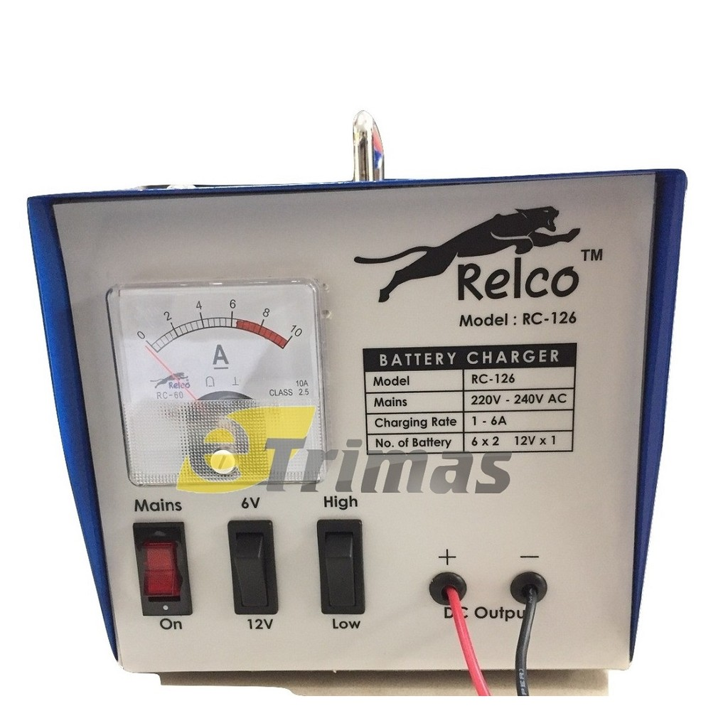 6AMP Relco Heavy Duty Car Automotive Lead Acid & Calcium DC Battery Charger