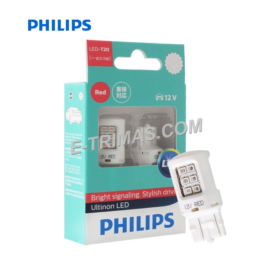 Philips Ultinon LED Red Brake Light Bulb T20 12V 21/5W